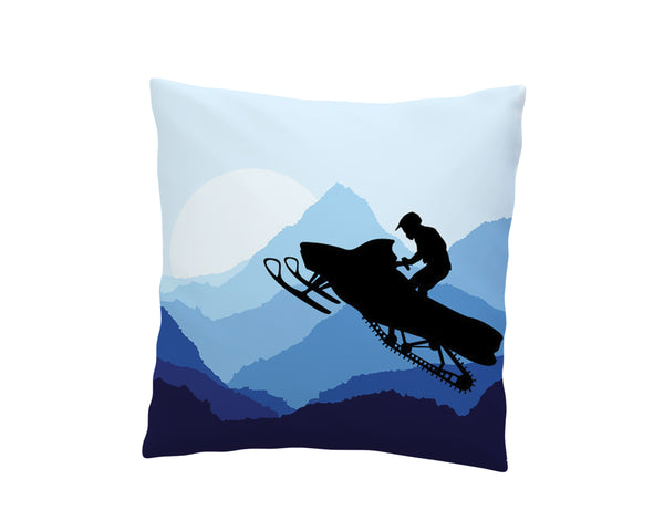 blue snowmobile throw pillow cover from extremely stoked snocross bedding