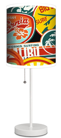 CALIFORNIA SURF STICKERS SURFER LAMP FROM EXTREMELY STOKED