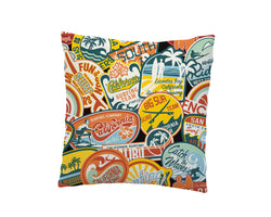 SURF STICKERS THROW PILLOW COVER