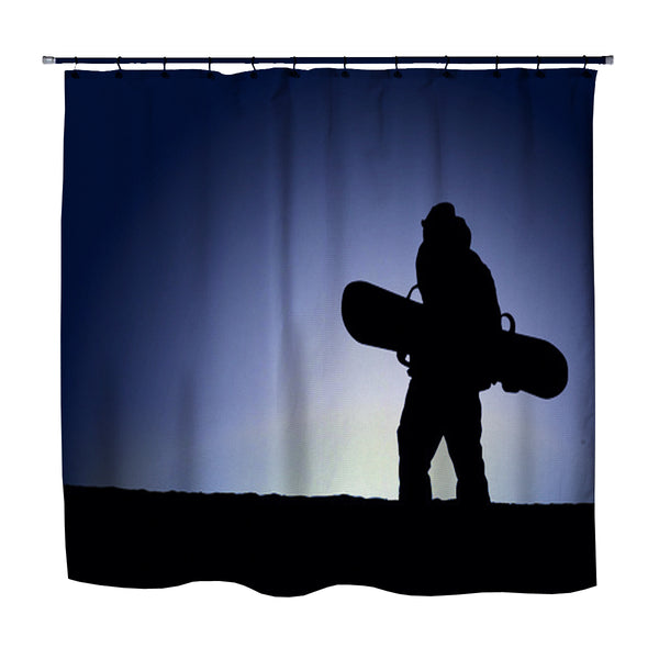 SNOWBOARD SHOWER CURTAIN EXTREMELY STOKED
