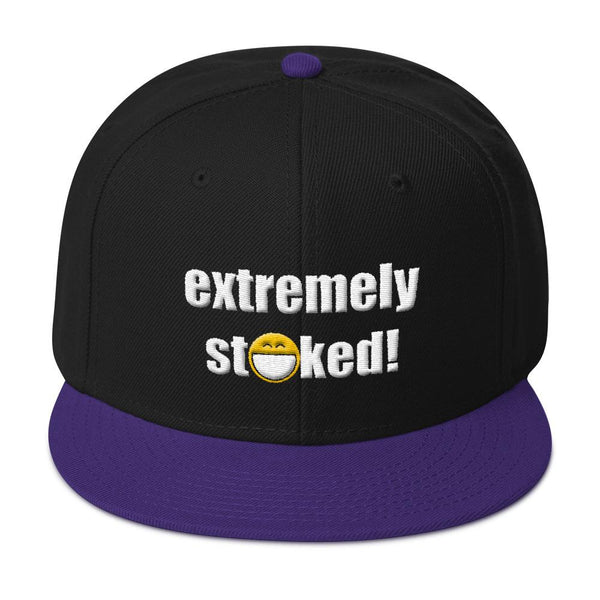 Extremely Stoked Big Smiley Emoji Purple and Black Snapback Hat