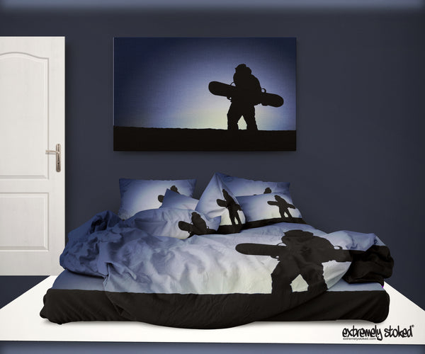 DREAMING OF GOLD SNOWBOARD DUVET COVER SET FROM EXTREMELY STOKED