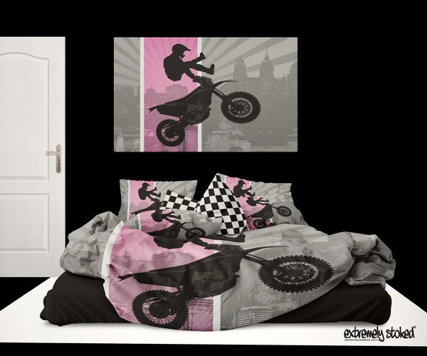 GIRLS PINK MOTOCROSS BEDDING SET FROM EXTREMELY STOKED