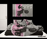 EXTREMELY STOKED PINK MOTOCROSS BEDDING SET