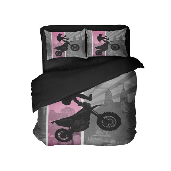 "Extremely Stoked ""Dream In Extreme"" Pink Motocross Pillow Case"