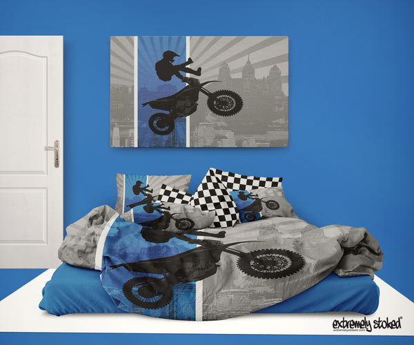 DREAM IN EXTREME BLUE  MOTOCROSS BEDDING DUVET COVER SET FROM EXTREMELY STOKED