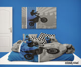 DREAM IN EXTREME BLUE  MOTOCROSS BEDDING COMFORTER SET FROM EXTREMELY STOKED