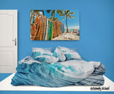 OCEAN WAVE SURF COMFORTER SET FROM SURFER BEDDING EXTREMELY STOKED