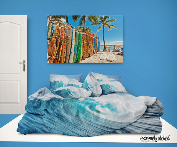 ocean wave surf duvet cover from surfer bedding extremely stoked