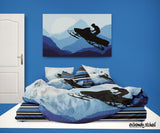 EXTREMELY STOKED SNOWMOBILE SNOCROSS BEDDING SET SHOWN WITH STRIPE SHEET SET