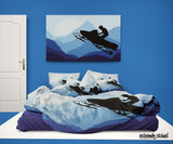 EXTREMELY STOKED BLUE SNOWMOBILE SNOCROSS BEDDING SET