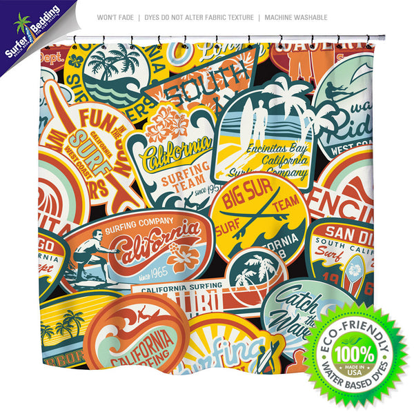 Surfer Bedding California Vintage Surf Stickers Shower Curtain - Surf Bedding
