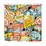 california surf stickers shower curtain