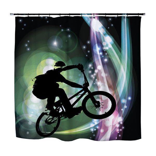 bmx shower curtain from extremely stoked