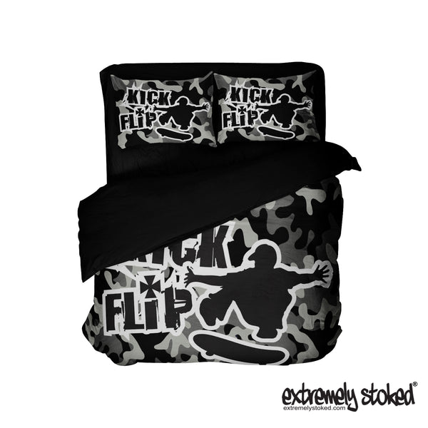 KICK FLIP SKATEBOARD CAMO PILLOWCASE FROM EXTREMELY STOKED BEDDING