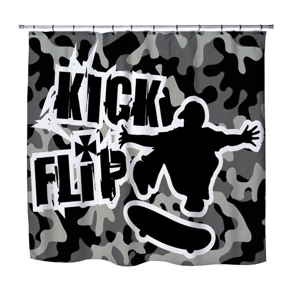 KICK FLIP SKATEBOARD CAMO SHOWER CURTAIN FROM EXTREMELY STOKED