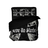 LIVE TO SKATE CAMO SKATEBOARD DUVET COVER SET FROM EXTREMELY STOKED BEDDING