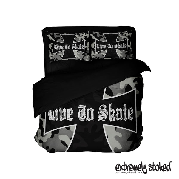 LIVE TO SKATE CAMO SKATEBOARD BEDDING SET FROM EXTREMELY STOKED