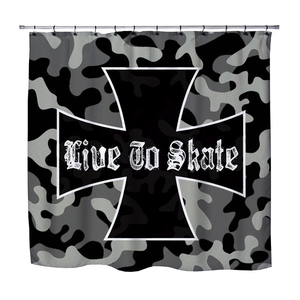 LIVE TO SKATE CAMO SKATEBOARD SHOWER CURTAINS FROM EXTREMELY STOKED