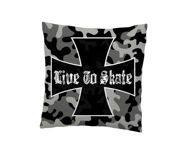 LIVE TO SKATE CAMO SKATEBOARD THROW PILLOW COVER FROM EXTREMELY STOKED