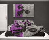 PURPLE MOTOCROSS PILLOW CASES ON MOTOCROSS BEDDING SET FROM EXTREMELY STOKED