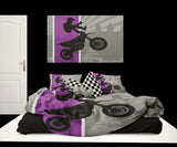 EXTREMELY STOKED PURPLE MOTOCROSS DUVET COVER SET