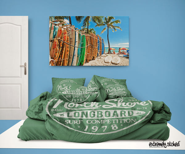 Surfer Bedding Haleiwa, Hawaii Green Surf Duvet Cover Set from Extremely Stoked