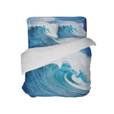 OCEAN WAVE PHOTO COMFORTER AND SURFER BEDDING SHEET SET