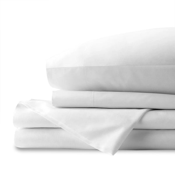 TWIN XL WHITE ORGANC COTTON SHEET SET