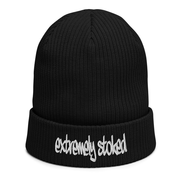 EXTREMELY STOKED ORGANIC BLACK BEANIE
