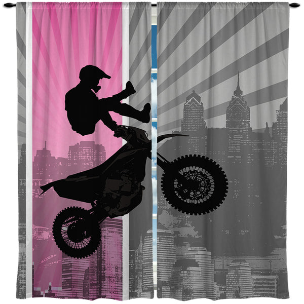 Girls Motocross Window Curtains extremely stoked
