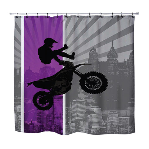 DREAM IN EXTREME PURPLE MOTOCROSS SHOWER CURTAIN FROM EXTREMELY STOKED