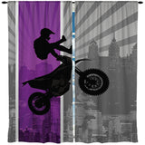PURPLE DIRT BIKE MOTOCROSS WINDOW CURTAINS FROM EXTREMELY STOKED