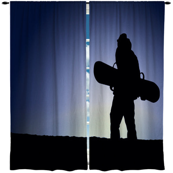 EXTREMELY STOKED SNOWBOARD WINDOW CURTAINS
