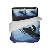 SNOWMOBILE RIDER COMFORTER SET FROM EXTREMELY STOKED SHOWN WITH WHITE BACKING