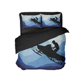 SNOWMOBILE RIDER COMFORTER SET FROM EXTREMELY STOKED SHOWN WITH BLACK BACKING