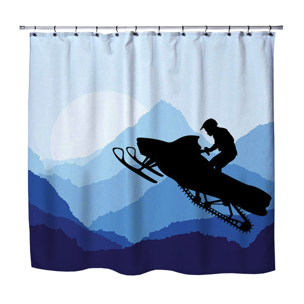 blue snowmobile rider shower curtain