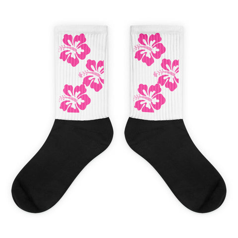 Pink Hibiscus Surfer Girl Socks from Extremely Stoked Surf