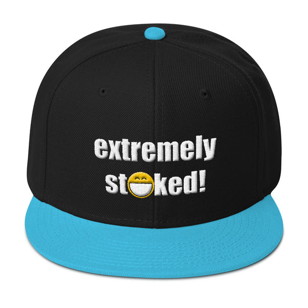 Extremely Stoked Big Smiley Emoji Black and Blue Snapback Hat