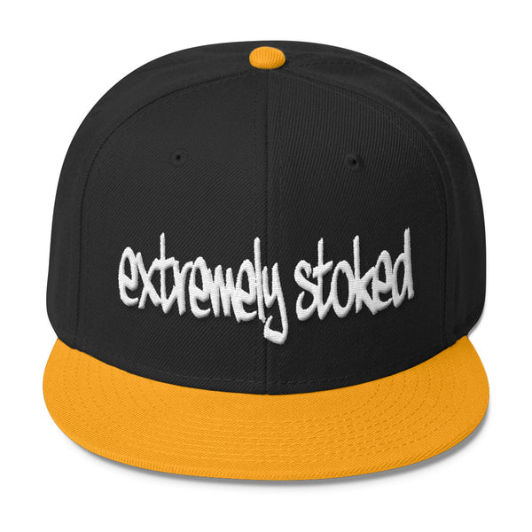 Extremely Stoked Graffiti Logo Black and Yellow Snapback Hat