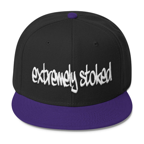 Extremely Stoked Graffiti Logo Black and Purple Snapback Hat