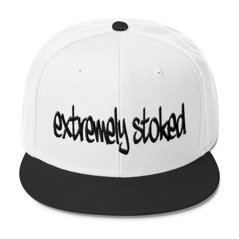 Extremely Stoked Wool Blend Snapback Black and White Cap