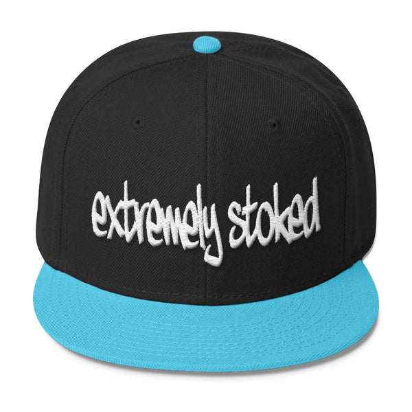 Extremely Stoked Black and Aqua Snapback Cap