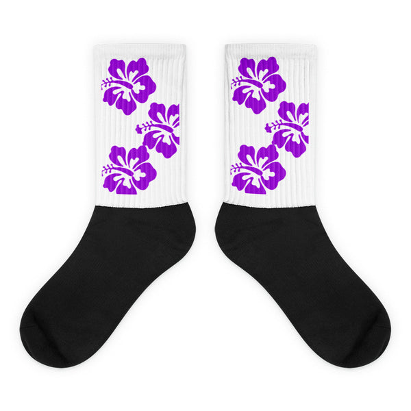 Purple Hibiscus Surfer Girl Socks from Extremely Stoked Surf