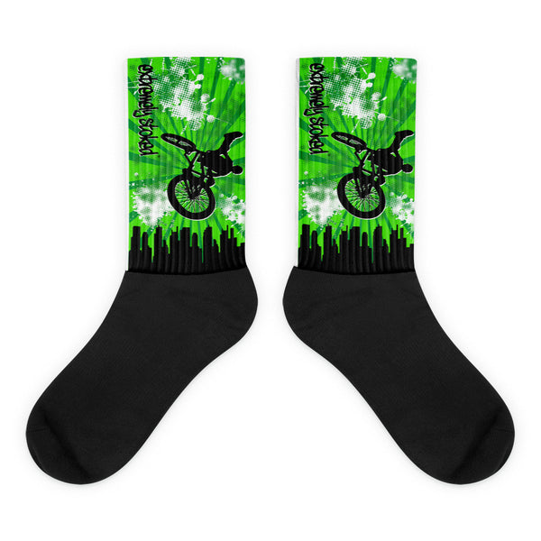 Extremely Stoked Green and Black BMX Socks