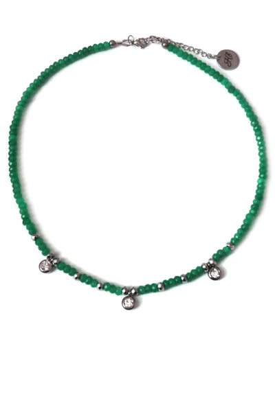 Jade choker necklace - green boho chic