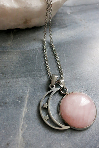 Rose Quartz Crescent Moon Necklace