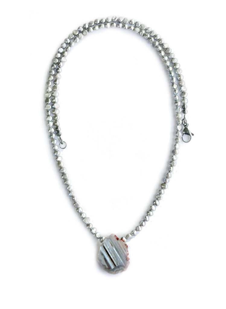 Bohu Luxe Grey Freshwater Pearls Long Necklace