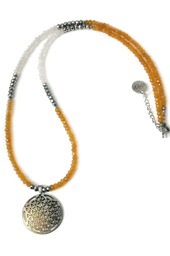 Long Jade necklace - golden yellow