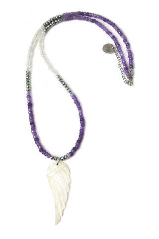 Long Jade necklace - violet